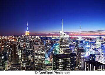 tramonto, skyline de manhattan, città, york, nuovo