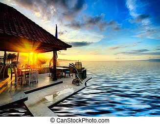 tramonto, sopra, balinese, linea costiera
