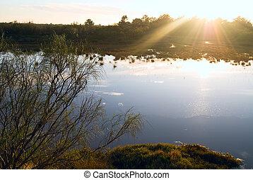 tramonto, sopra, cielo, lago