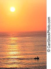 tramonto, sopra, il, oceano