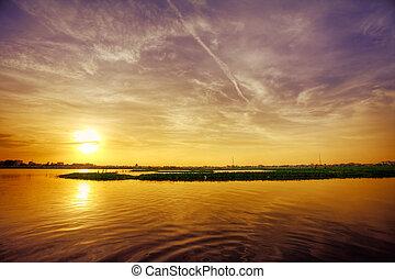tramonto, sopra, lago