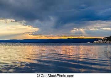 tramonto, sopra, lago yellowstone