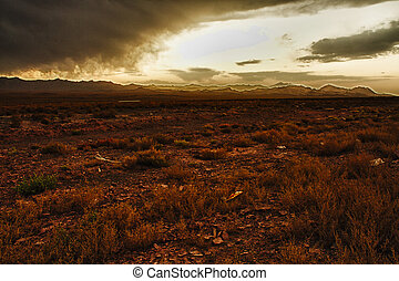 tramonto, sopra, nubi, deserto, tempestoso
