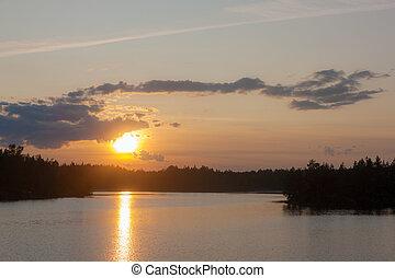 tramonto, sopra, uno, foresta, lago