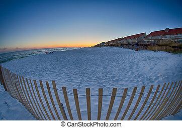 tramonto, spiaggia, in, florida