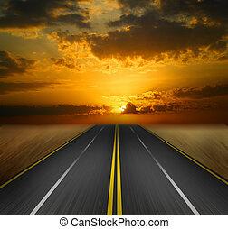 tramonto, strada