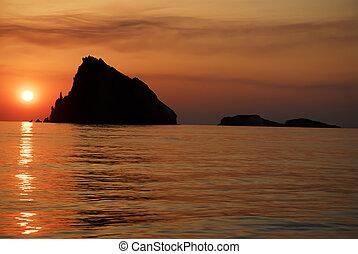 tramonto, su, eolie, isole