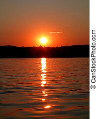 tramonto, su, il, lago