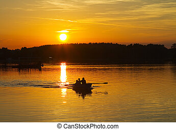 tramonto, su, il, lago, barca