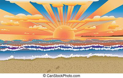 tramonto, su, spiaggia tropicale