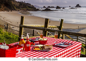 tramonto, trascurare, picnic, oceano