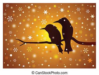 tramonto, uccelli, ramo