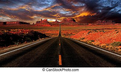 tramonto, valle, monumento, immagine