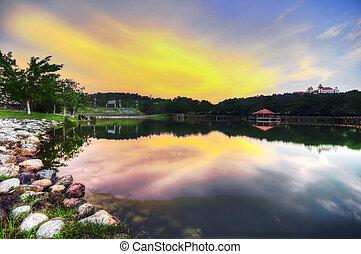 tramonto, vista, sopra, uno, lago
