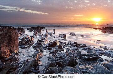 tramonto, woolacombe, nord, devon, costa