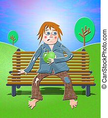Tramp sitting on a park bench eating an apple.