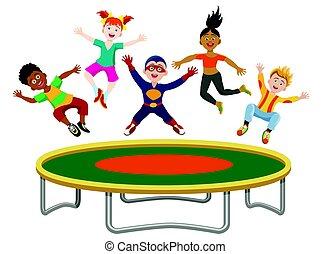 Springende , kinder, trampolin. Lustiges, trampoline ...