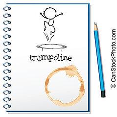 trampoline, cobertura, caderno