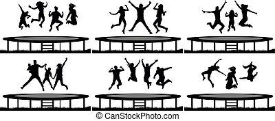 trampoline, ensemble, silhouette, sauter, gens
