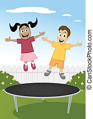 Trampoline Fun - Happy multiracial children jumping on...