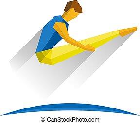 Trampoline Gymnastics. Jumping sportsman. - Trampoline...
