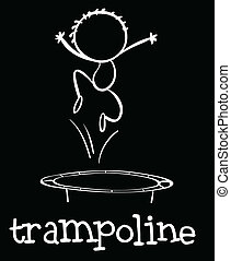 Trampoline - illustration of a boy jumping on a trampoline