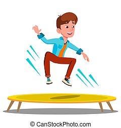trampoline, isolé, illustration, sauter, adolescent, vector.