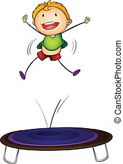 trampoline kid - Illustration of a boy jumping on a...