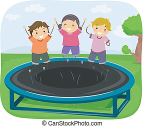 Trampoline Kids - Illustration of Kids Bouncing Up and Down...