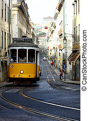 tramvaj, 28, lisabon, portugalsko