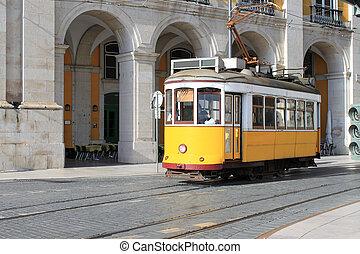 tramvaj, do, lisabon, portugalsko