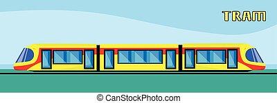 tramvaj, moderní, město, veřejná doprava