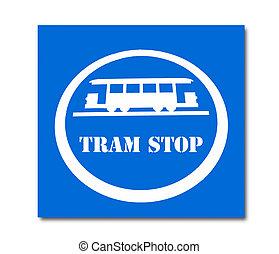 tramwaj, zatrzymywać, odizolowany, znak, tło, biały