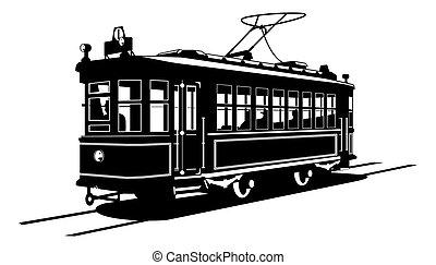 black and white illustration of tram.