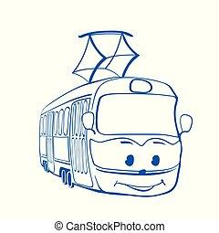 Tramway cartoon, smiley tramway drawing