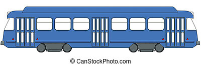 tramway - Illustration of a blue tramway from Brussels