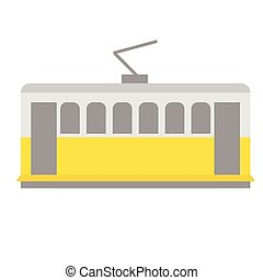 tramway flat illustration on white background. Travel ...