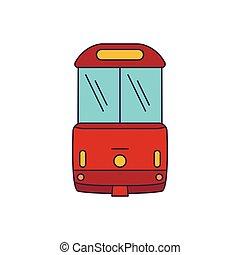 Tramway icon, cartoon style - Tramway icon. Cartoon tramway...