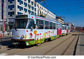 Tramway in Bratislava - BRATISLAVA, SLOVAKIA - MARCH 7:...