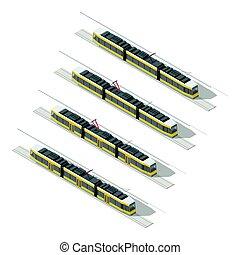Tramway isometric icon set vector graphic illustration