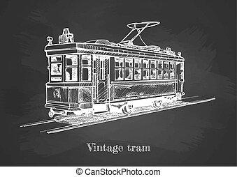 Tramway on blackboard - Vector hand drawing of vintage tram...
