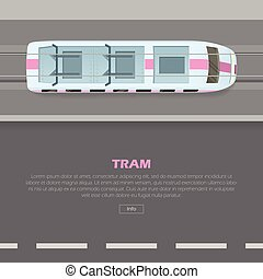Tramway on Road Conceptual Flat Vector Web Banner - Tramway...
