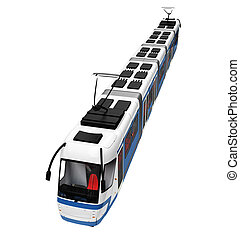 tramway over white - isolated long tramway on a white...