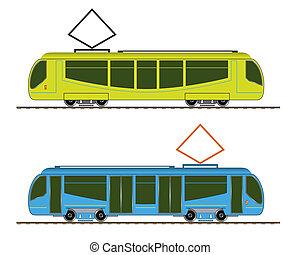 Tramway. Set public conveyances. EPS10, opacity