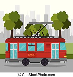 tramway transport retro service urban vector illustration...