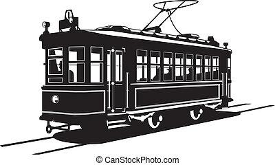 Vector black and white illustration of tram.