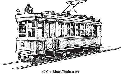 Vector drawing of tram stylized as engraving.