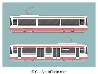 Tramway. Vector illustration. EPS 10, opacity