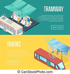 Tramway waiting station isometric 3D posters. Urban and...