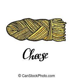 trançado, queijo, vetorial